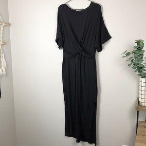 LUSH tshirt maxi dress with wrap bust detail